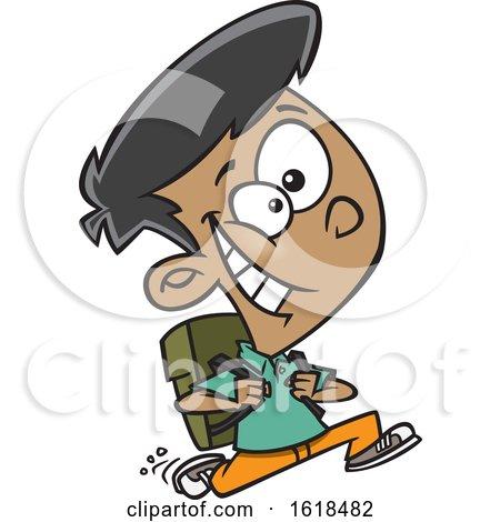 Cartoon School Boy Running to Class by toonaday