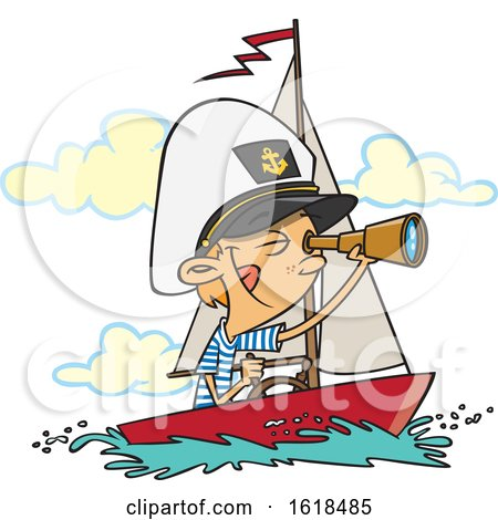 Cartoon White Captain Boy Looking Through a Telescope by toonaday