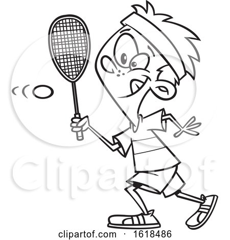 Cartoon Lineart Boy Playing Squash by toonaday