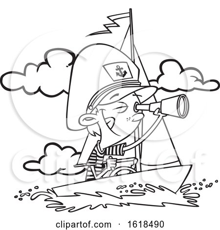 Cartoon Lineart Captain Boy Looking Through a Telescope by toonaday