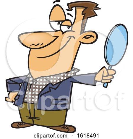Cartoon Vain White Man Holding a Mirror by toonaday