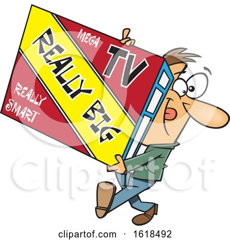 Cartoon White Man Carrying a Really Big Tv by toonaday
