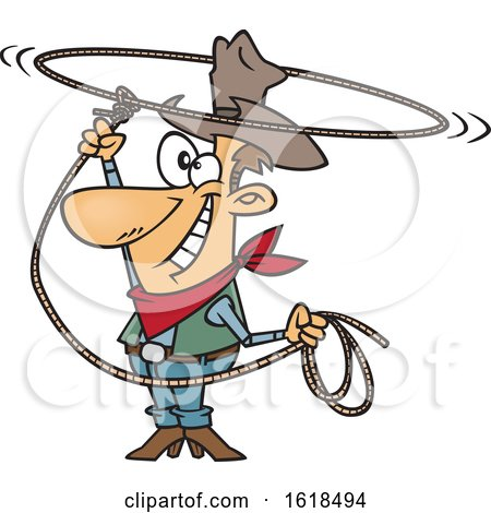 Cartoon White Cowboy Swinging a Lasso and Performing a Rope Trick Posters, Art Prints