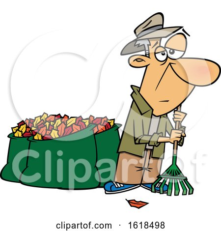 Cartoon Tired Old White Man After Raking and Bagging Autumn Leaves by toonaday