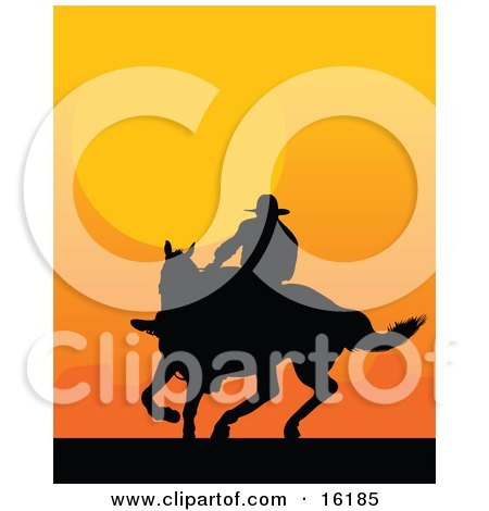 Western Cowboy Riding A Horse And Silhouetted Against An Orange Sunset Posters, Art Prints