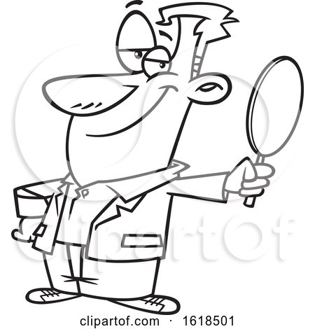 Cartoon Outline Vain Man Holding a Mirror by toonaday