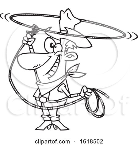 Cartoon Outline Cowboy Swinging a Lasso and Performing a Rope Trick by toonaday