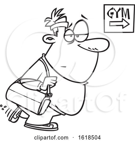 Cartoon Outline Chubby Gym Bound Man by toonaday