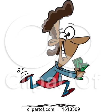 Cartoon Black Woman Running to Spend Money by toonaday