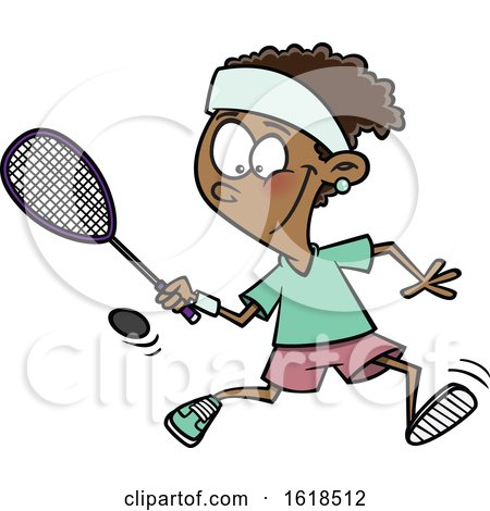 Cartoon Black Girl Playing Squash by toonaday