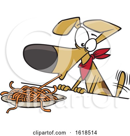 Cartoon Dog Eating Spaghetti by toonaday