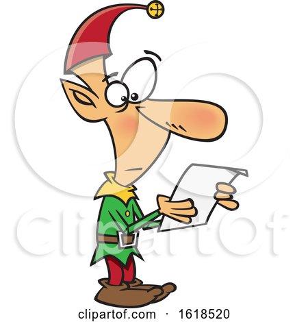 Cartoon Christmas Elf Reading a List by toonaday
