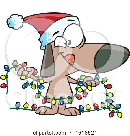 Cartoon Festive Christmas Dog Holding Lights by toonaday
