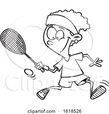 Cartoon Lineart Black Girl Playing Squash by toonaday