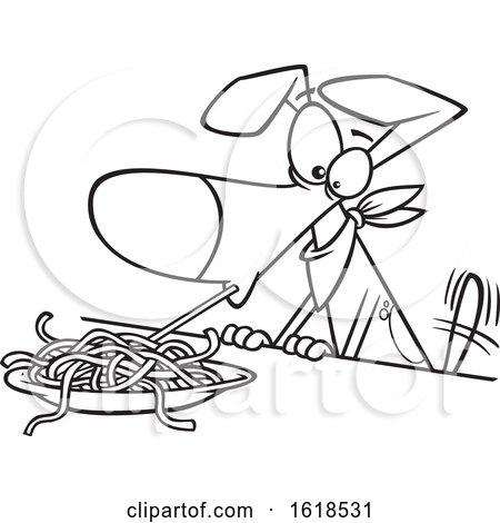 Cartoon Lineart Dog Eating Spaghetti by toonaday