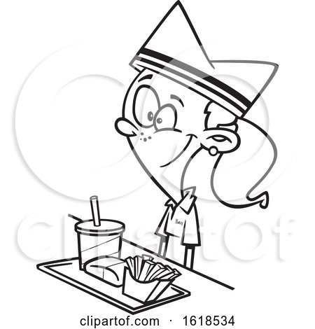 Cartoon Lineart Girl Working Fast Food by toonaday