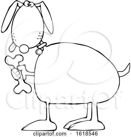 Cartoon Outline Dog Holding a Bone by djart