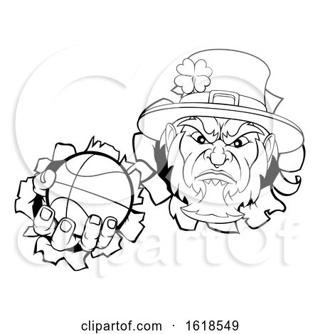 Leprechaun Basketball Mascot Ripping Background by AtStockIllustration