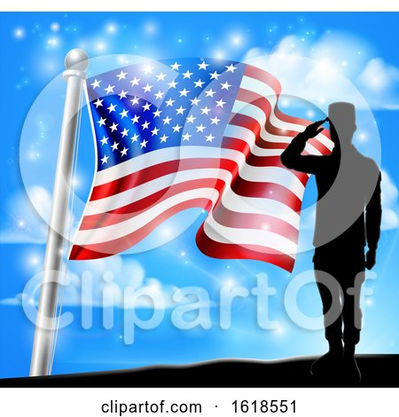 Patriotic American Flag Soldier Salute Design by AtStockIllustration