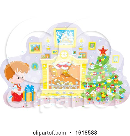Caucasian Boy Kneeling by a Christmas Gift and Santa Descends the Chimney by Alex Bannykh