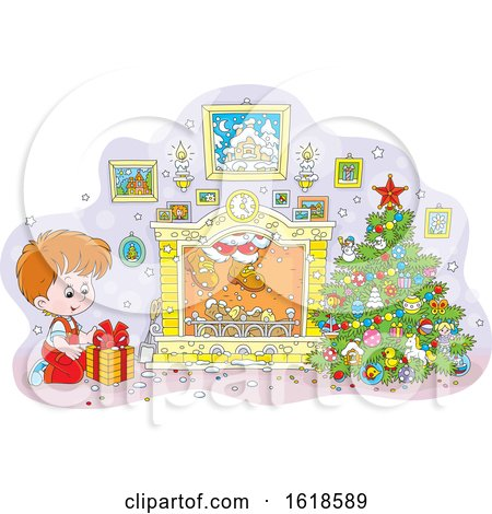 White Boy Kneeling by a Christmas Gift and Santa Descends the Chimney by Alex Bannykh