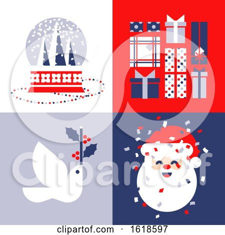 Set of Elegant Christmas Cards with Snow Globe, Holiday Gifts, White Dove and Cute Santa Claus by elena