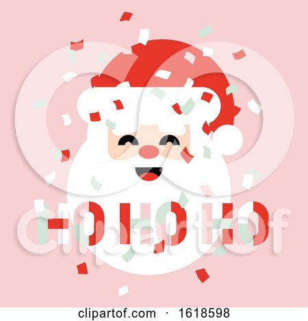 Flat Style Pastel Color Christmas Card with Paper Confetti in the Air and Cute Santa Claus Saying Ho Ho Ho by elena