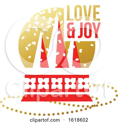 Red and Gold Greeting Card with Christmas Glass Ball with Christmas Tree and Wishes of Love and Joy by elena