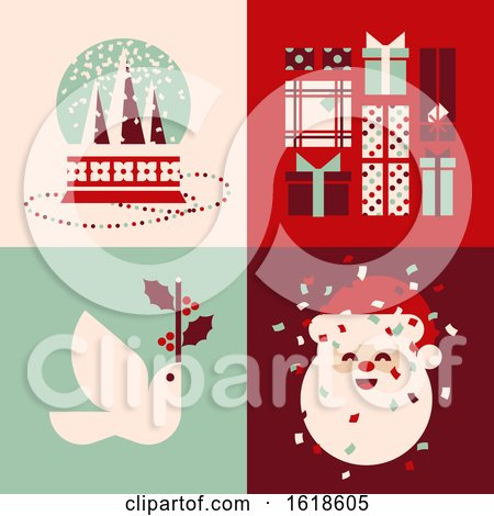 Set of Retro Christmas Cards with Snow Globe, Holiday Gifts, White Dove and Cute Santa Claus by elena