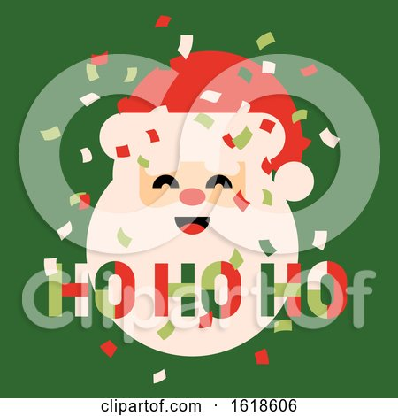 Retro Style Christmas Card with Cute Santa Claus Saying Ho Ho Ho and Colorful Confetti in the Air by elena