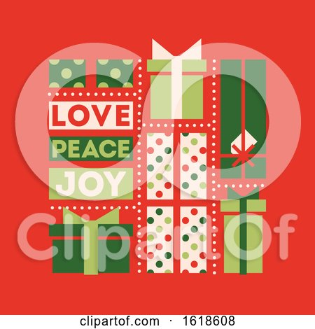 Retro Style Christmas Card with Holiday Gift Boxes and Wishes of Love, Peace and Joy by elena