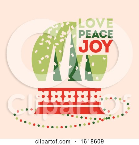 Retro Style Christmas Card with Snow Globe and Wishes of Love, Peace and Joy by elena