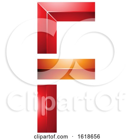 Red and Orange Geometric Letter F by cidepix