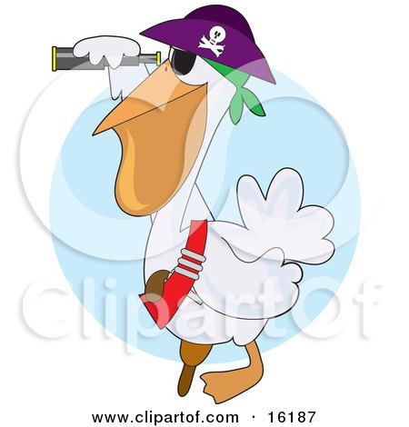 White Pelican Pirate In A Jolly Roger Hat, Looking Through A Telescope Clipart Illustration Image by Maria Bell