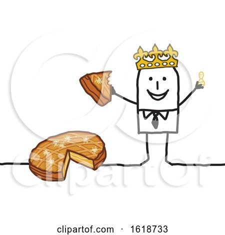 Stick Man Wearing a Crown and Eating Epiphany Cake by NL shop