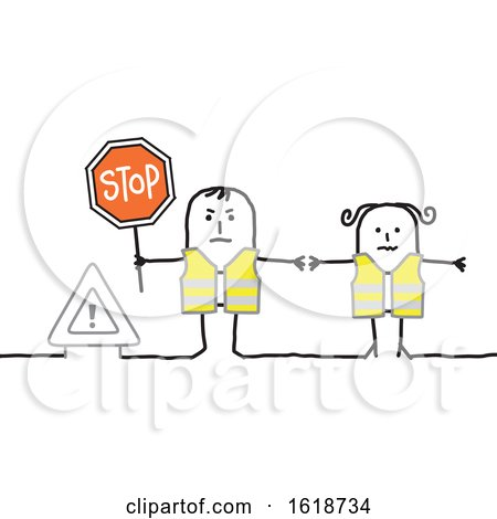 Stick Couple Wearing Safety Vests and Holding a Stop Sign by NL shop