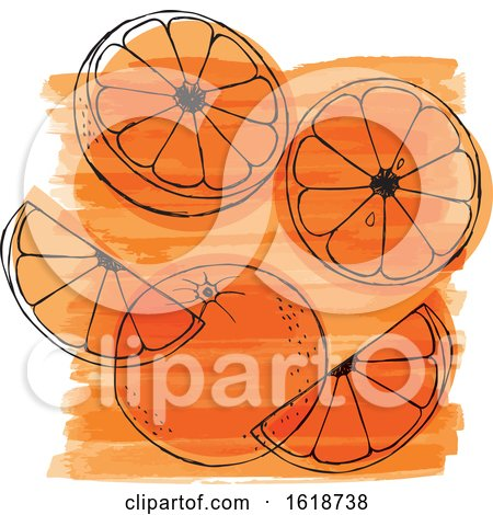 Watercolor Design with Oranges by Cherie Reve