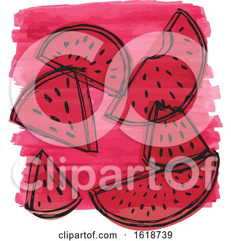 Watercolor Design with Watermelon by Cherie Reve