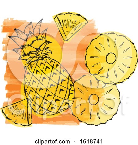 Watercolor Design with Pineapple by Cherie Reve