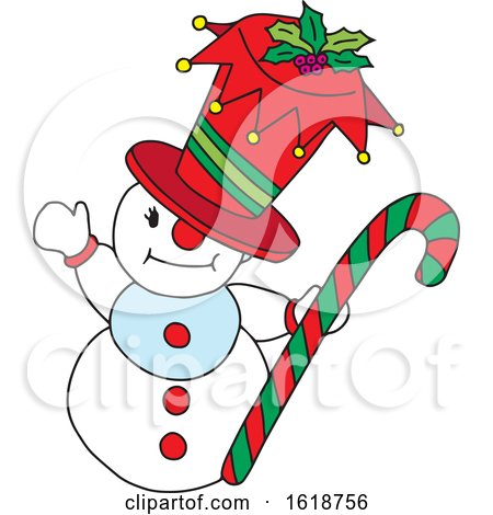 Snowman Holding a Candy Cane by Cherie Reve