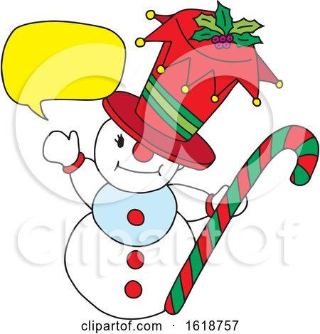 Talking Snowman Holding a Candy Cane by Cherie Reve