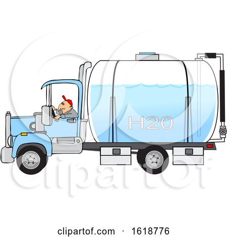Man Driving a Water Delivery Truck by djart