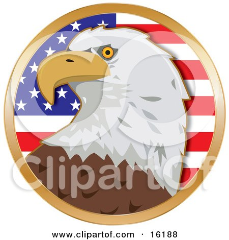 American Bald Eagle (Haliaeetus Leucocephalus) In Front Of The Stars And Stripes Of An American Flag Clipart Illustration Image by Maria Bell