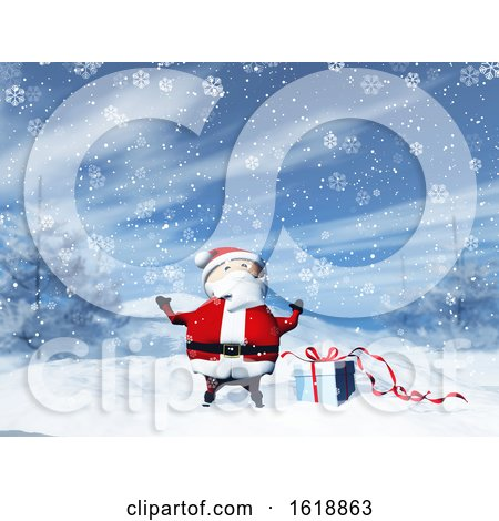 3D Santa in a Snowy Landscape with Gift by KJ Pargeter