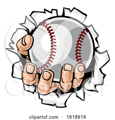 Baseball Ball Hand Tearing Background by AtStockIllustration