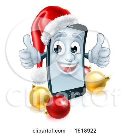 Cell Mobile Phone Christmas Mascot in Santa Hat by AtStockIllustration