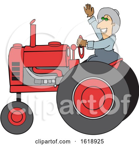 Cartoon Happy Male Farmer Waving While Operating a Tractor Posters, Art Prints