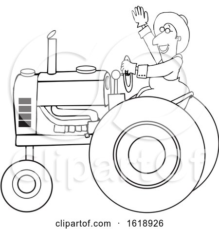 Cartoon Black and White Happy Male Farmer Waving While Operating a Tractor by djart