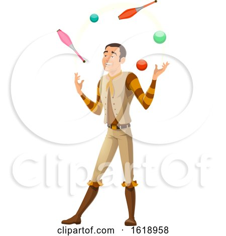 Circus Man Juggling by Vector Tradition SM