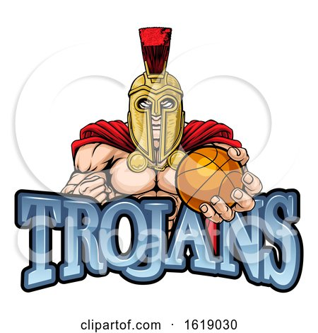 Trojan Spartan Basketball Sports Mascot by AtStockIllustration